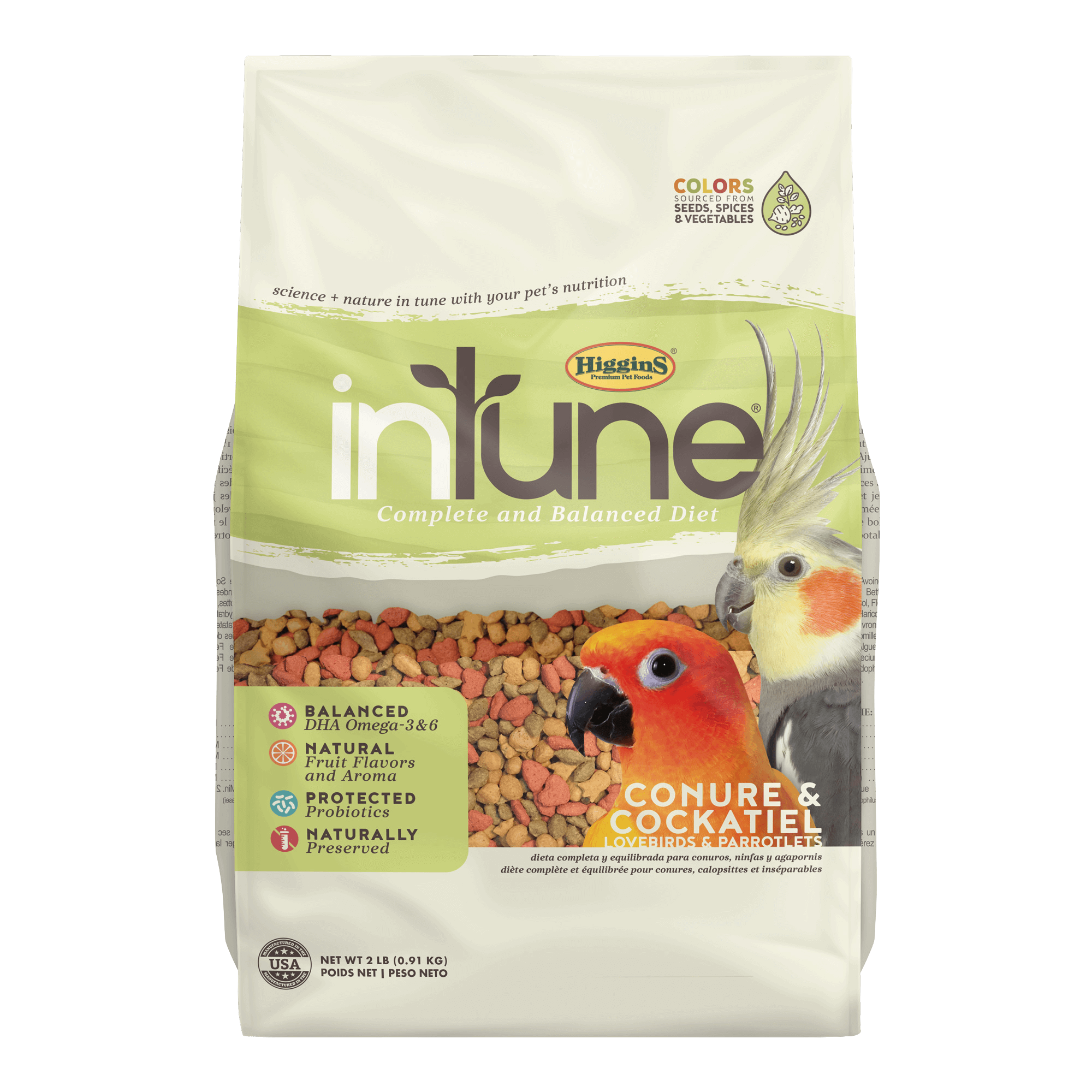 InTune Natural - Conure & Cockatiel Pellets | 908gm - Click to enlarge picture.