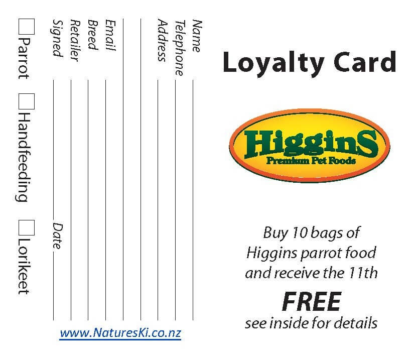 Loyalty Card - Higgins (bunch of 20) - Click to enlarge picture.