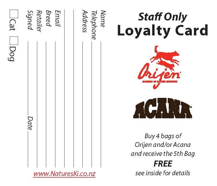 Loyalty Card - Orijen & Acana Staff (bunch of 10) - Click to enlarge picture.