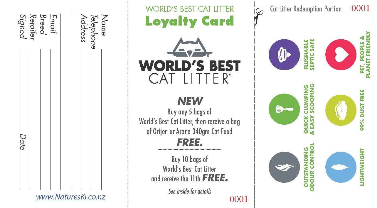 Loyalty Card - World's Best Cat Litter (bunch of 20) - Click to enlarge picture.